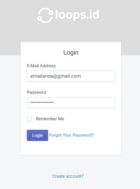 Login aplikasi loops